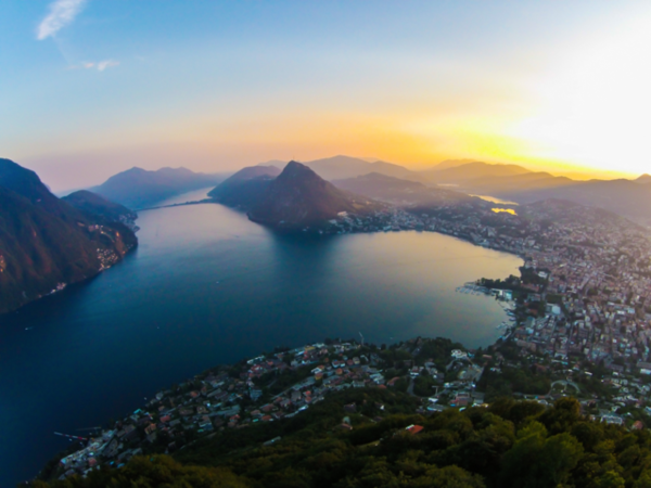 A view over Lake Lugano. Lugano, Switzerland.