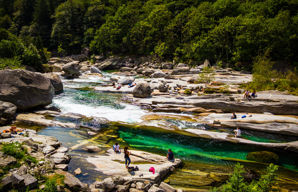 Swiss water fun in Lavertezzo, Valle Verzasca
