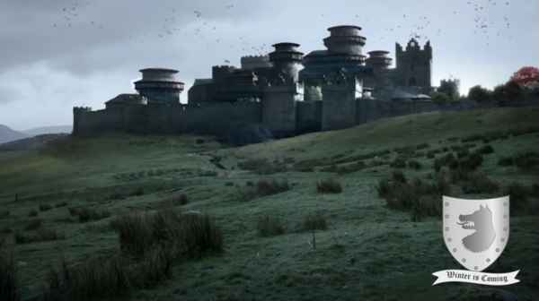 Winterfell Castle together with the Sigil of House Stark.