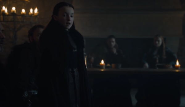 Lady Mormont declaring for Rob Stork. (GOT Season 6: Episode 10)