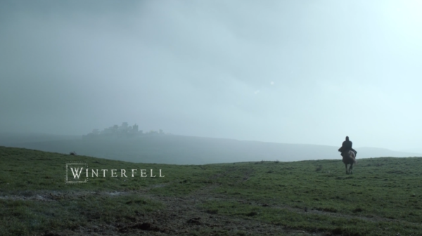 The Castle of Winterfell in the background.  (Season 1 – Episode 1)