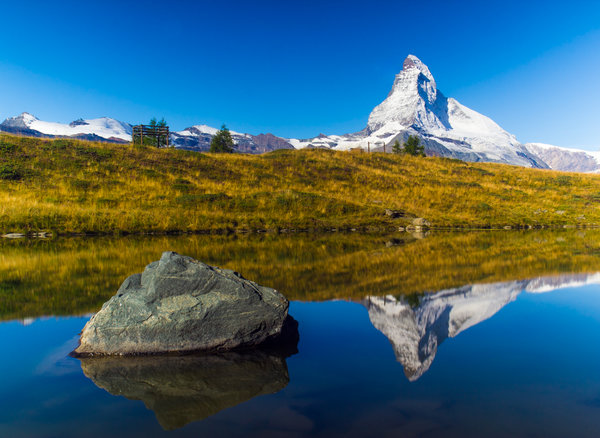 The Matterhorn view with reflection in a lake