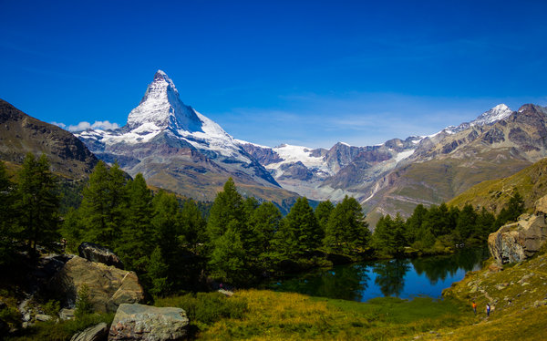 Matterhorn and Dent Blance above a lake