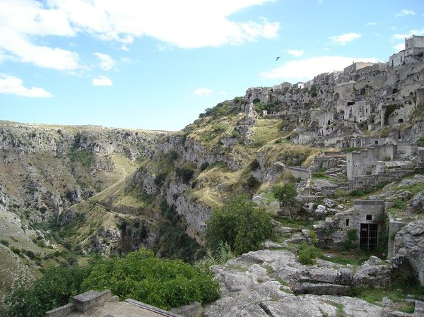 The cave home dwellings of Matera.