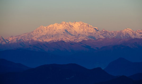 The famous pinkish hues of the Monte Rosa at dawn