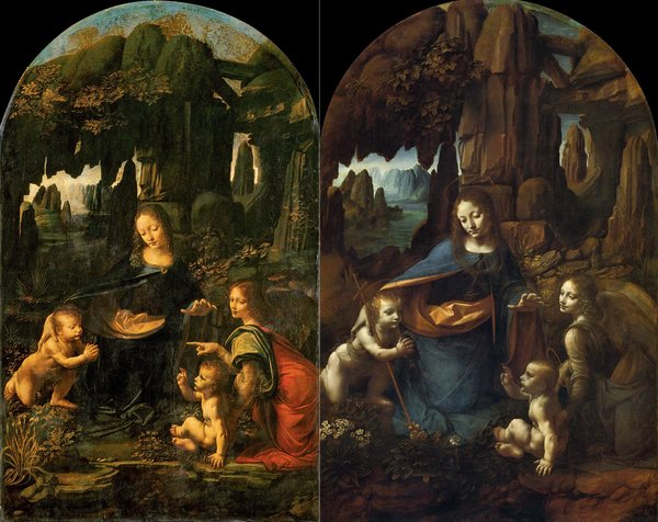 Madonna on the rocks, the left is in Louvre (painted in 1483-1486), the right one is in London (painted in 1495-1508), both have the Monte Rosa in the background