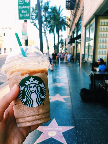 Enjoying some Starbucks on the Walk of Fame, North Hollywood