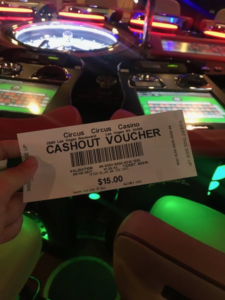 Cashout voucher after gambling at Circus Circus