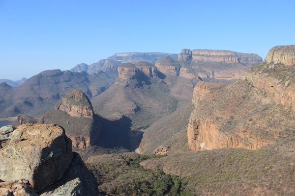 A view over the three rondawels at the Blyde River Canyon of South Africa