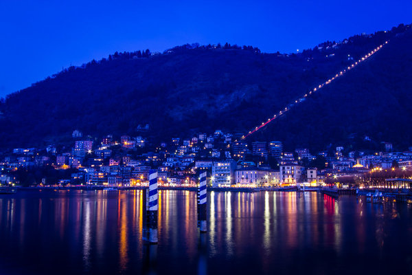Como evening lights by the lake