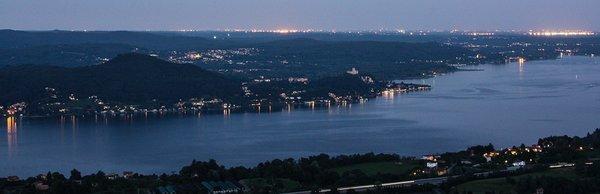 Lake Maggiore  at night.  Lake Maggiore, Italy.