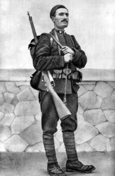 Mussolini in 1917 as a soldier. Italy.