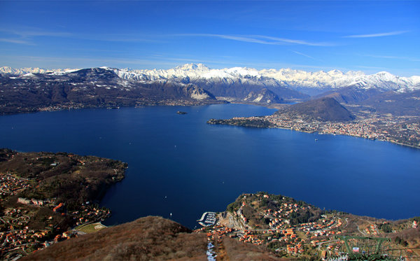 Panoramic view of the lake.  Lake Maggiore, Italy.