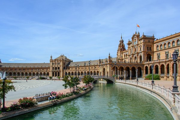 The city of Seville is an absolute architectural wonderland. In this image can be seen the 'Plaza de Espana.'  Seville, Spain.
