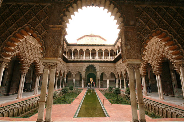 The Courtyard of the Maidens. Alcazar Palace, Seville, Spain.