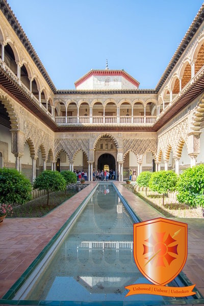 "The shield of House Tyrell and ""The Courtyard of the Maidens"" featured as the Water Gardens of Dorne in GOT.   Seville, Spain."