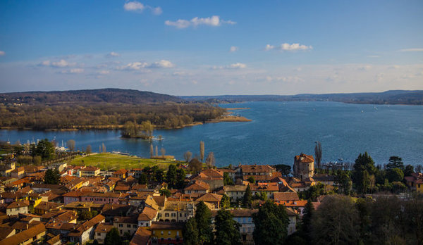 The town of Angera on Maggiore Lake. One of the castle names is Rocca d'Angera. Here your will get great views of the lake and the town.